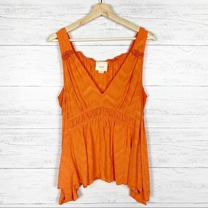 Maeve • Bretta Orange Gathered Tank Top